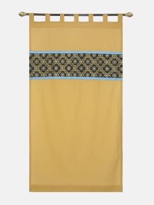 Mustard Yellow Embroidered Cotton Curtain