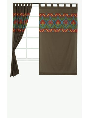 Brown Appliqued Cotton Curtain