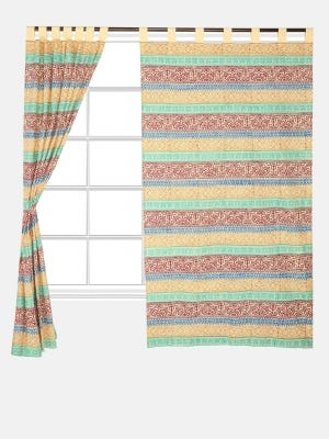 Yellow Printed Cotton Curtain