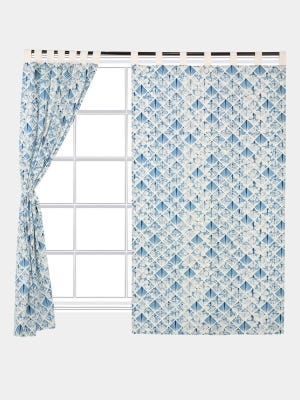 Ivory Printed Cotton Curtain
