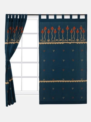 Deep Teal Embroidered Cotton Tab Top Curtain