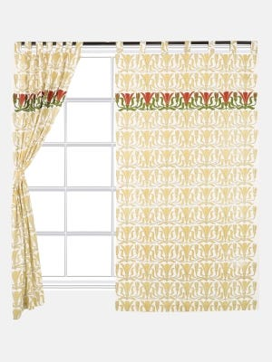 White Printed  and Appliqued Cotton Tab Top Curtain