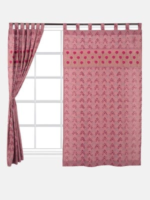 Dusty Pink Printed and Appliqued Cotton Curtain