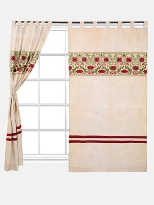 Off White Printed and Embroidered Mixed Silk Curtain
