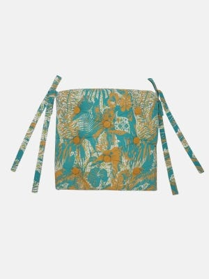 Turquoise Printed Cotton Chair Cushion Cover