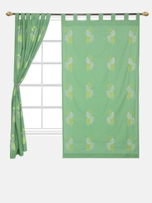 Green Appliqued Cotton Curtain