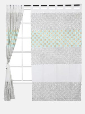 White Printed Cotton Curtain