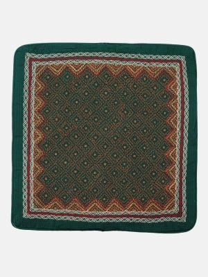 Green and Orange Nakshi Kantha Embroidered Cotton Cushion Cover