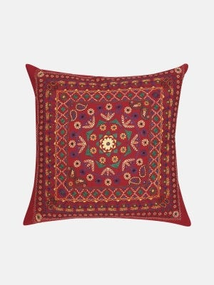 Red Nakshi Kantha Embroidered Cotton Cushion Cover