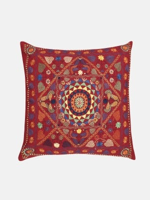 Red Nakshi Kantha Embroidered Cushion Cover