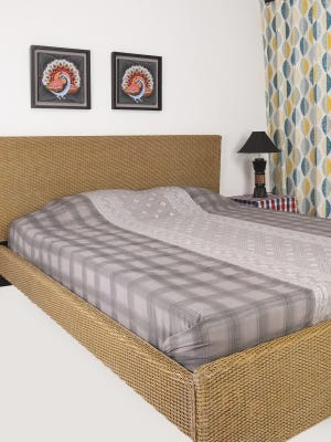 Grey Brush Painted Nakshi Kantha Embroidered Cotton Bed Cover