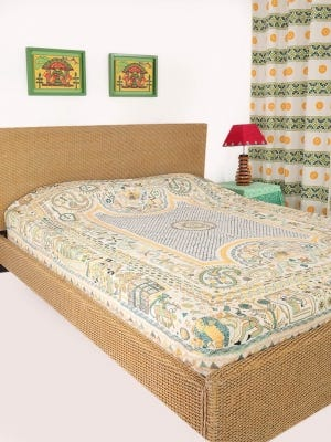 Ivory Printed and Nakshi Kantha Embroidered Cotton Bed Cover