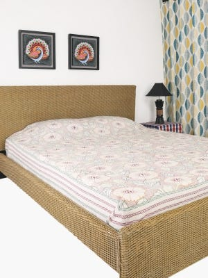 White Nakshi Kantha Embroidered Cotton Bed Cover