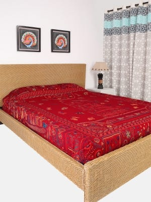 Maroon Nakshi Kantha Embroidered Cotton Bed Cover