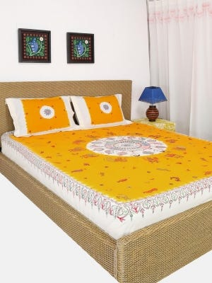 Ivory Tie-Dyed and Nakshi Kantha Embroidered Cotton Bed Cover Set