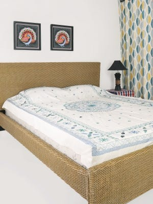 Ivory Nakshi Kantha Embroidered Cotton Bed Cover