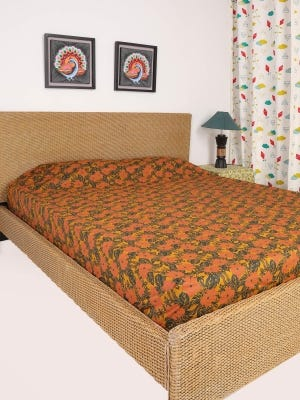 Mustard Nakshi Kantha Embroidered and Printed Cotton Bed Cover
