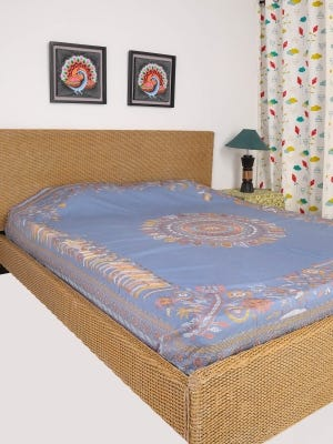 Stone Blue Nakshi Kantha Embroidered Cotton Bed Cover