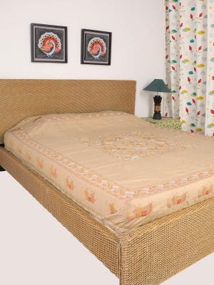 Beige Nakshi Kantha Embroidered Cotton Bed Cover