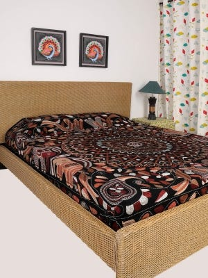 Black Nakshi Kantha Embroidered Cotton Bed Cover