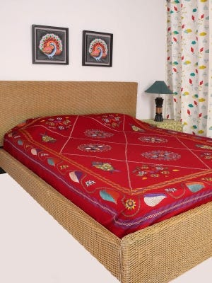 Red Nakshi Kantha Embroidered Cotton Bed Cover