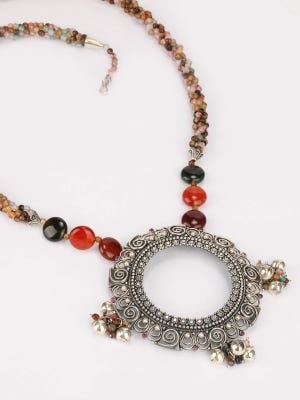 Simulated Ruby Studded Oxidized Silver Necklace