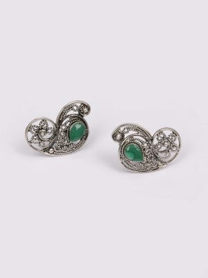 Simulated Stone Studded Oxidized Silver Earrings