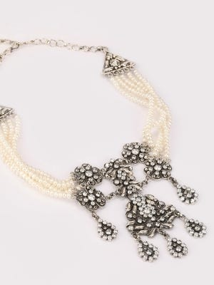Simulated Stone and Pearl Studded Oxidized Silver Necklace
