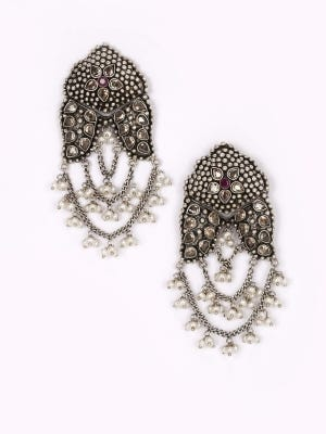 Simulated Stone and Pearl Studded Oxidized Silver Earrings