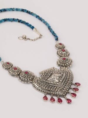 Simulated Stone Studded Silver Necklace