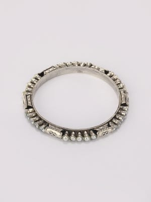 Pearl Studded Oxidized Silver Bangle