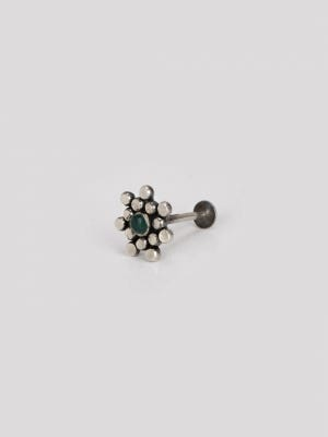 Simulated Stone Studded Silver Nose Pin