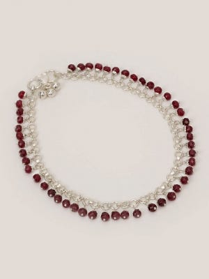 Simulated Stone Studded Silver Anklet