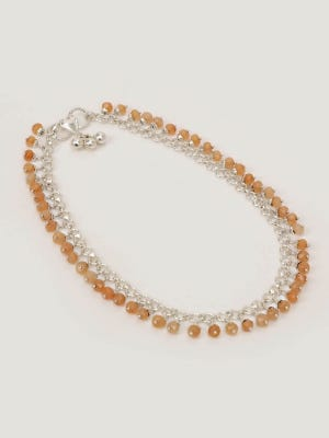 Beads Studded Silver Anklet