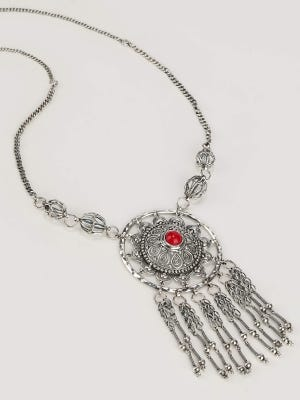 Simulated Stone Studded Oxidized Silver Necklace