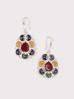 Simulated Stone Studded Silver Earrings