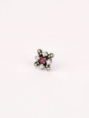Simulated Stone Studded Oxidized Silver Nose Pin