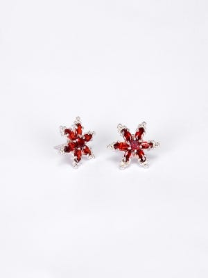 Simulated Stone Silver Earrings