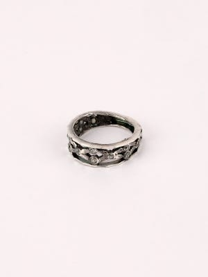 Simulated Stone Studded Oxidized Silver Ring