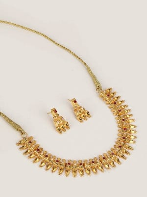 Pearl and Simulated Stone Studded Gold Necklace Set