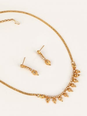 Simulated Stone Studded Gold Necklace Set
