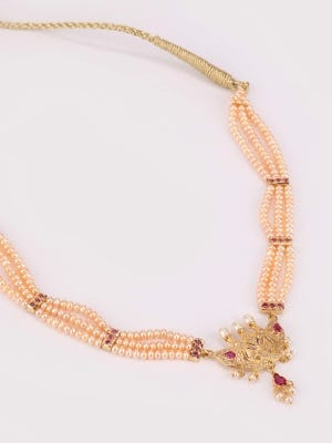 Simulated Pearl and Stone Studded Gold Necklace