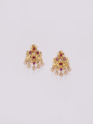 Simulated Stone and Pearl Studded Gold Earrings
