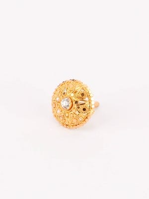 Simulated Stone Studded Gold Nose Pin