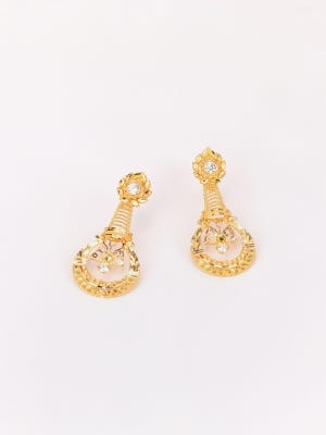 Simulated Stone Studded Gold Earrings