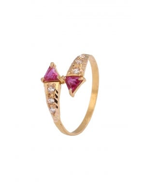 Simulated Stone Studded Gold Ring