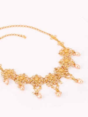 Pearl Studded Gold Necklace