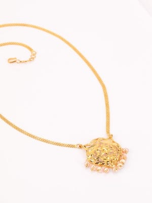 Simulated Pearl Studded Gold Necklace