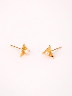 Simulated Pearl Studded Gold Earrings