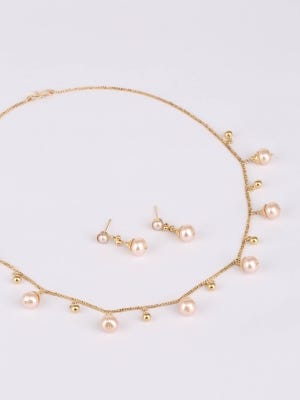 Pearl Studded Gold Necklace Set